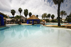 Outdoors. A swimmingpool with palm trees - Lifestyle concept Royalty Free Stock Photography