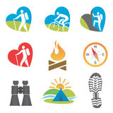 Outdoors_activity_icon_set. Set of nine outdoor, turism, hiking, icons. Vector illustration Royalty Free Stock Image