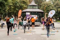 Outdoors aerobics Stock Image