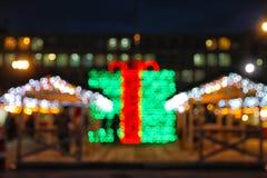 Красивое яркое оформление рождества outdoors Bokeh стоковые изображения rf
