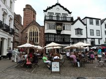 Outdoors cafe at Cathedral Close, Exeter, Devon UK Royalty Free Stock Images