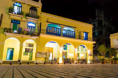 Outdoors cafe at night in Old Havana Royalty Free Stock Photography
