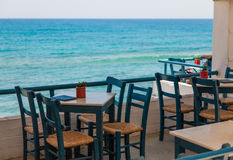 Outdoors cafe, sea view royalty free stock image