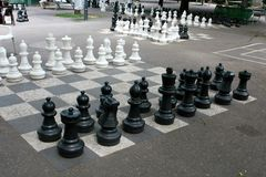 Outdoors chess game Stock Images