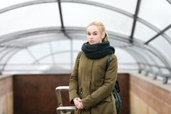Outdoors city portrait of young blonde hipster woman Stock Photography