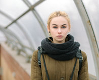 Outdoors city portrait of young blonde hipster woman Royalty Free Stock Photos