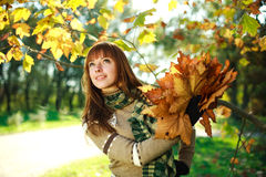 Outdoors closeup portrait of autumn happy girl Royalty Free Stock Photos