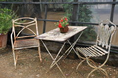 Free Outdoors Country Style Shabby-chic Old Tonal White Furniture In The Glasshouse  Royalty Free Stock Image - 37361406
