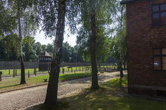 Outdoors and a defense perimeter in Auschwitz I camp Royalty Free Stock Photo