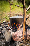 Outdoors dinner cooking Royalty Free Stock Photos
