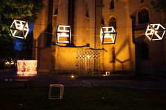 Outdoors ecological night lamps. Huet Square, Sibiu, Romania - June 1, 2013: Huet Urban. Green is Smart, an event which means protecting our environment and Royalty Free Stock Images