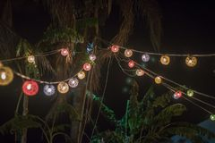 Outdoors event garden decoration at night royalty free stock image