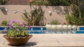 Outdoors event garden decoration in swimming pool stock image