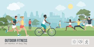 Outdoors fitness and sports. Young people doing physical activity outdoors at the park, they are running, cycling and practicing yoga; healthy lifestyle and stock illustration