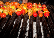 Vegetables and meat on grill Royalty Free Stock Photos