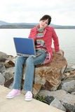 Outdoors with Laptop stock photography