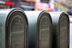 Outdoors mailboxes. Row of outdoors mailboxes in NY, USA Stock Images