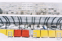 Outdoors market covered in snow Stock Image