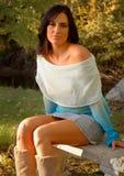 outdoors modna kobieta Fotografia Royalty Free