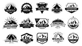 Outdoors nature badges. Adventure emblem, vintage wilderness label and outdooring camping badge vector illustration set. Outdoors nature badges. Adventure emblem vector illustration