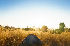 outdoors obozuje traw średniogórza halni w zmierzchu Zdjęcia Stock
