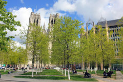 Brussels, Belgium - St. Michael and Gudula Cathedral, outdoors in center Royalty Free Stock Image