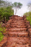 Outdoors pathway with muddy and rocky stairs Royalty Free Stock Image