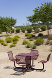 Outdoor table in backyard Royalty Free Stock Images