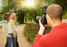 Outdoors photoshoot Stock Images