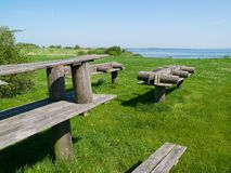 Outdoors Picnic tables Royalty Free Stock Images