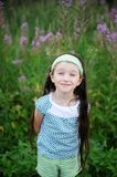 Outdoors portrait of adorable amazed child girl Royalty Free Stock Image