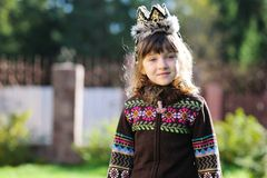 Outdoors portrait of adorable girl wearing crown Stock Photography
