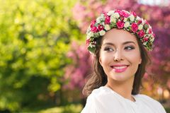 Amazing natural spring beauty. Outdoors portrait of an amazing natural spring beauty royalty free stock photos
