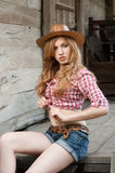 Red haired cowgirl Royalty Free Stock Photography
