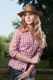 Red haired cowgirl Royalty Free Stock Image