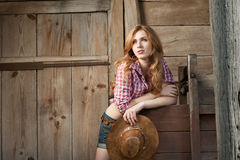 Red haired cowgirl Royalty Free Stock Images