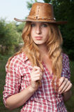 Red haired cowgirl Stock Photos