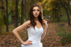 Beautiful young woman in wedding dress Royalty Free Stock Images
