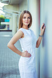 Outdoors portrait of beautiful young elegant woman Royalty Free Stock Images