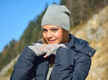 Outdoors portrait of beautiful young girl Royalty Free Stock Photography