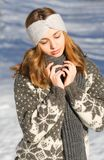 Winter fashion beauty. Outdoors portrait of a brunette winter fashion beauty Royalty Free Stock Images