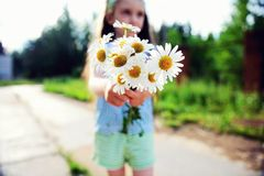 Outdoors portrait of a child girl with daisies Royalty Free Stock Images