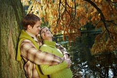 Outdoors portrait of couple in love Stock Images