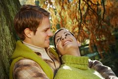 Outdoors portrait of couple in love Royalty Free Stock Images
