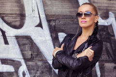 Outdoors portrait fashion model in sunglasses Stock Photo