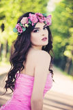 Outdoors Portrait of Fashion Woman. Beauty Summer Girl Royalty Free Stock Photography