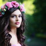 Outdoors Portrait of Nice Woman Fashion Model Royalty Free Stock Images