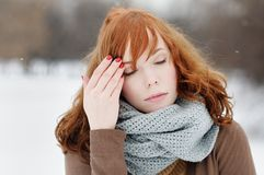 Outdoors portrait of sad young woman Stock Photos