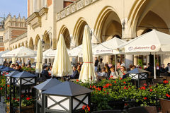 Outdoors restaurant by the Cloth Hall in Krakow Royalty Free Stock Images
