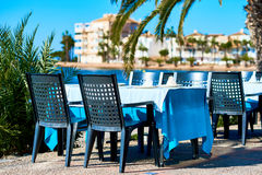 Outdoors restaurant in La Manga. Spain. Outdoors restaurant near the beach in La Manga La Manga del Mar Menor, is a seaside spit in the Region of Murcia, Spain stock images